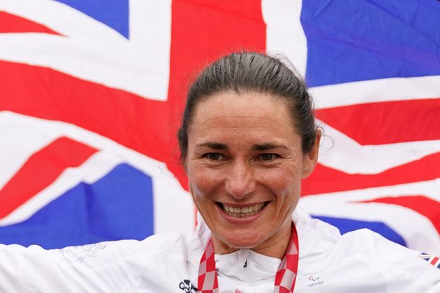 Great Britain's Sarah Storey celebrates with the gold medal in the Women's C5 time