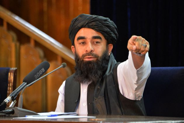 Taliban spokesperson Zabihullah Mujahid held a press conference in Kabul shortly after the militants'...