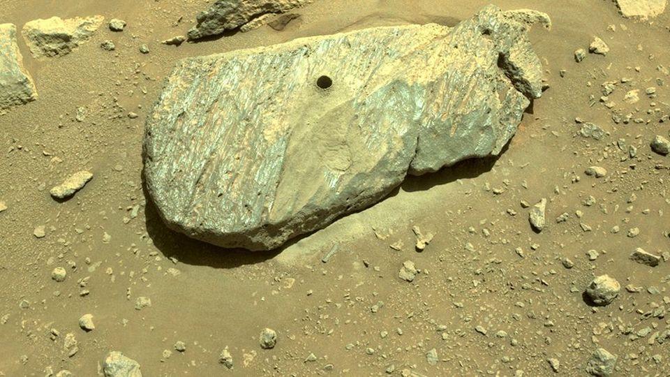 Το τρυπάνι του ρομποτικού οχημάτος Perseverance έκανε μια τρύπα ακρίβειας σε μια παχιά πλάκα του Αρη...