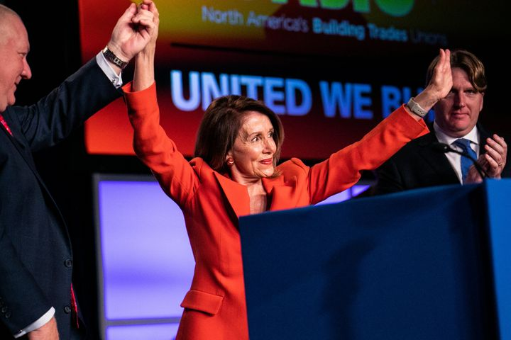 House Speaker Nancy Pelosi (D-Calif.) addresses the North America's Building Trades Unions 2019 conference. NABTU President S