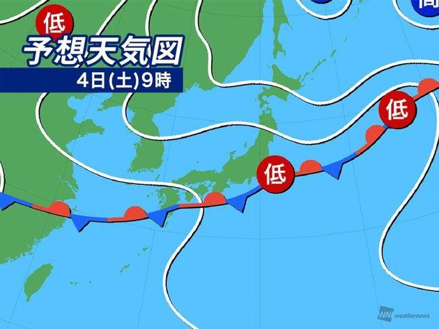 予想天気図 4日(土)9時