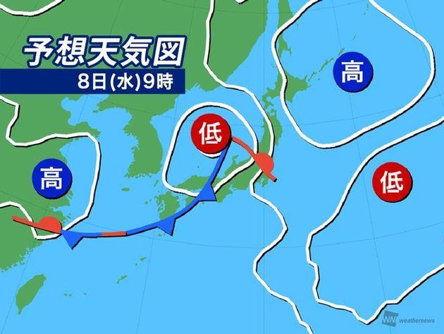 予想天気図 8日(水)9時