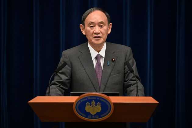 Japan's Prime Minister Yoshihide Suga speaks during a news conference at the prime minister's office, amid the coronavirus disease (COVID-19) pandemic, in Tokyo, Japan August 25, 2021. Kazuhiro Nogi/Pool via REUTERS