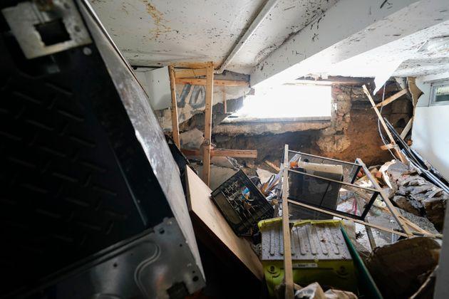 Un sous-sol habité dans le Queens, à New-York, dévasté après la tempête...