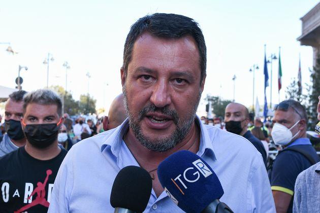 OLBIA, ITALY - AUGUST 21: Italian politician Matteo Salvini today in Olbia to promote the