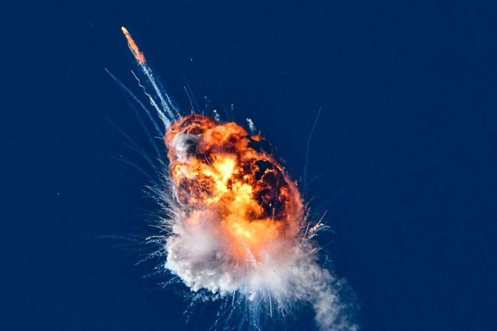 """A rocket launched by Firefly Aerospace, the latest entrant in the New Space sector, is seen exploding minutes after lifting off from the central California coast on Thursday, Sept. 2, 2021. The Alpha rocket was """"terminated"""" over the Pacific Ocean shortly after its 6:59 p.m. liftoff from Vandenberg Space Force Base, according to a base statement. (Len Wood/For The Santa Maria Times via AP)"""
