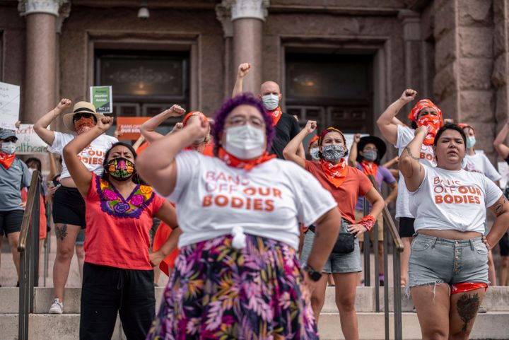 Pro-choice protesters perform outside the Texas State Capitol on Sept. 1, 2021, in Austin, Texas.