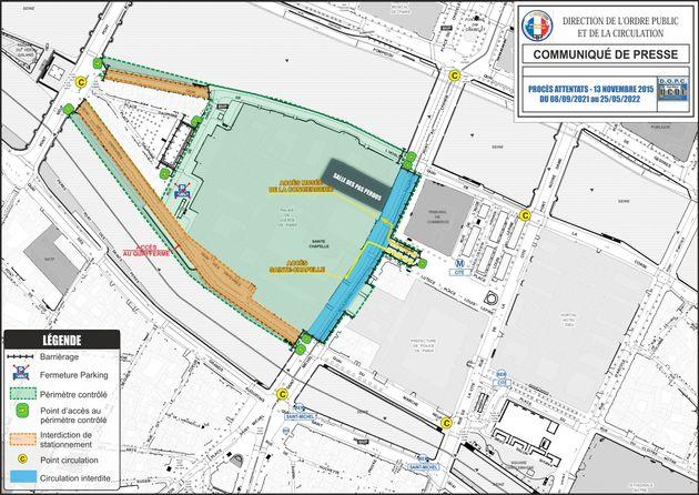 Plan des rues bloquées ou sécurisées sur l'île de la Cité à...