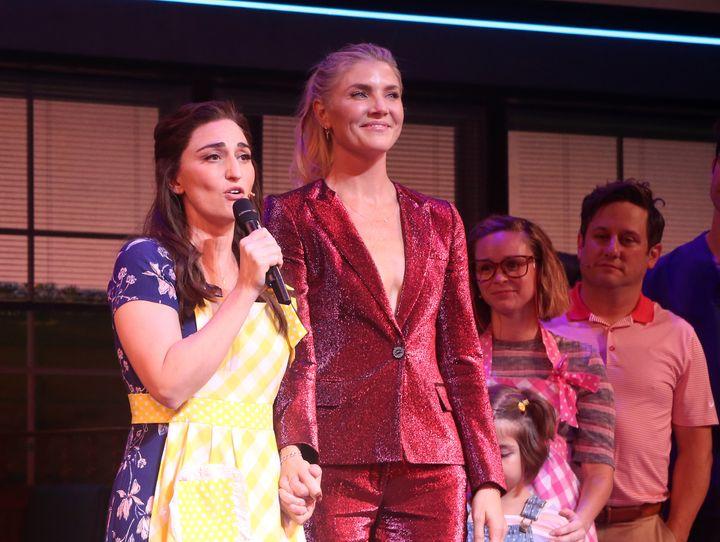 "Sara Bareilles (left) and Amanda Kloots at the Sept. 2 performance of Broadway's ""Waitress."""