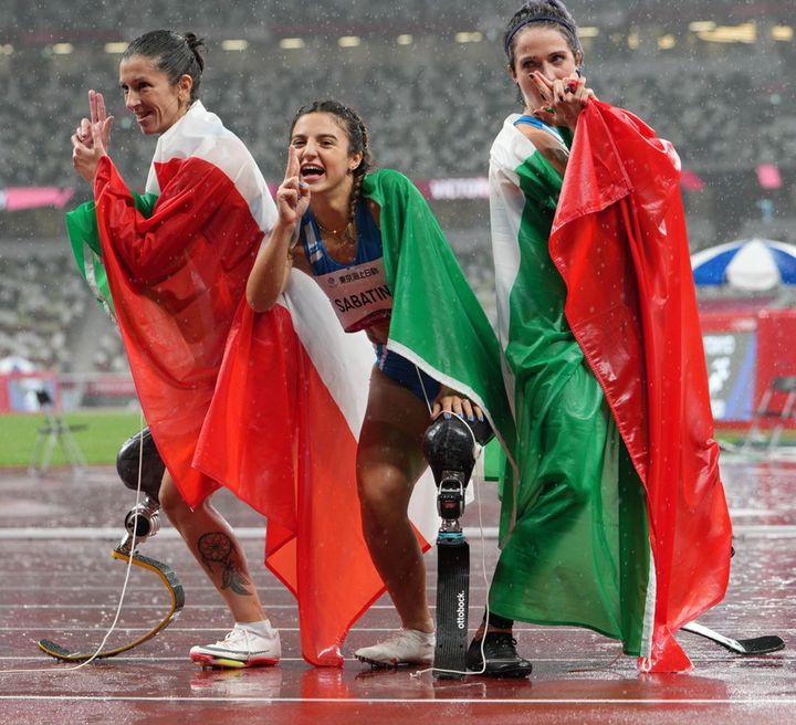 Storica tripletta azzurra nella finale dei 100 metri femminili categoria T63: oro ad Ambra Sabatini. Argento a Martina Caironi. Bronzo a Monica Graziana Contrafatto. ANSA/Bizzi/CIP