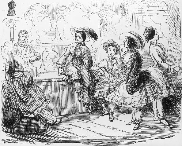 1855경 여성들이 블루머를 입으면서 어떻게 남성화 되었는지를 풍자한 만화.