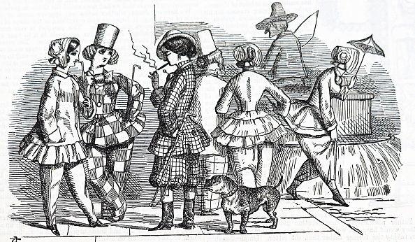 블루머를 입은 여성들. 1851년 Punch (영국의 주간 풍자 만화 잡지)