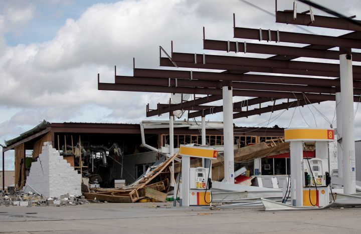 A gas station is seen destroyed by Hurricane Ida in Louisiana.