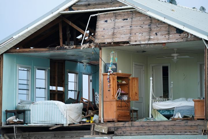 A storm-damaged home is seen in the wake of Hurricane Ida on September 3, 2021 in Grand Isle, Louisiana.