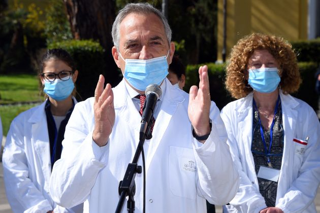 Spallanzani director Francesco Vaia. FIGC president Gabriele Gravina visits the Lazzaro Spallanzani Hospital...