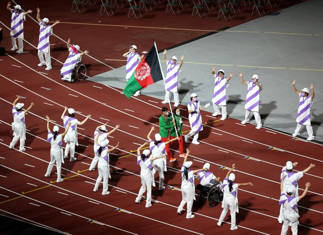 TOKYO, JAPAN - SEPTEMBER 05: The flag of Team Afghanistan is carried during the Closing Ceremony on day...
