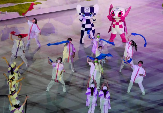 Dancers perform during the closing ceremony for the 2020 Paralympics at the National Stadium in Tokyo,...