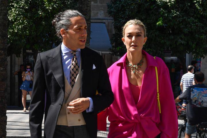 Marta Ortega y Carlos Torretta, en la boda de Carlos Cortina y Carla Vega Penichet en Jerez de la Frontera este sábado.