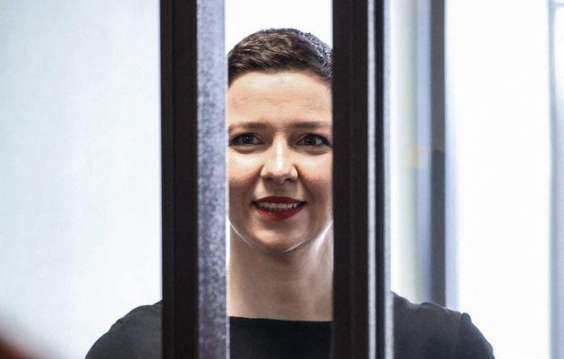 Maria Kolesnikova, el pasado 4 de agosto, en el cubículo de los acusados, durante su