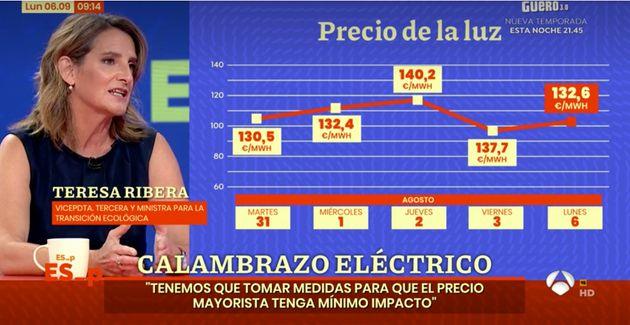 Teresa Ribera junto a una gráfica sobre el precio de la