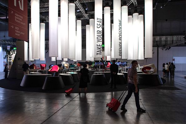 MILAN, ITALY - SEPTEMBER 05: Visitors visit Supersalone at Fiera di Rho-Pero on September 05, 2021 in...