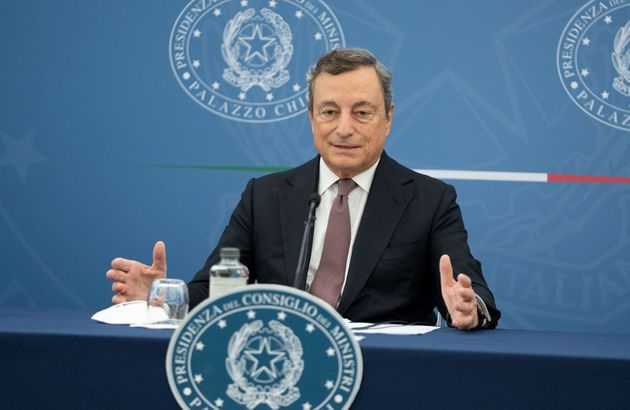 Italian Prime Minister Mario Draghi attends a joint press conference in Rome, Italy, on Sept. 2, 2021....