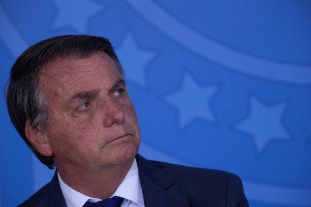 El presidente de Brasil, Jair Bolsonaro, este jueves en la ciudad de