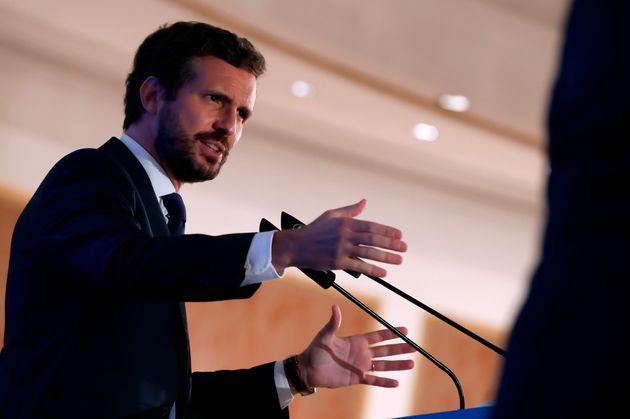El líder del PP, Pablo Casado este martes en el desayuno informativo del Fórum Europa en