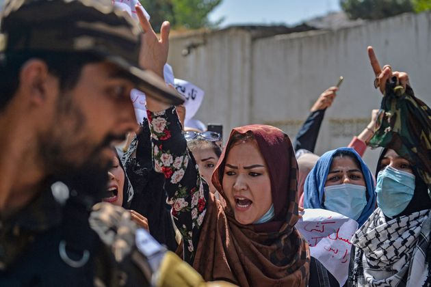 Afghan women shout anti-Pakistan slogans during the