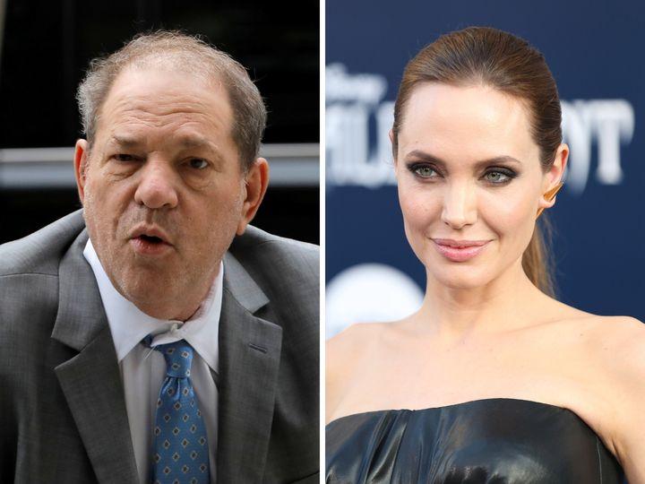 El productor Harvey Weinstein y la actriz Angelina Jolie.