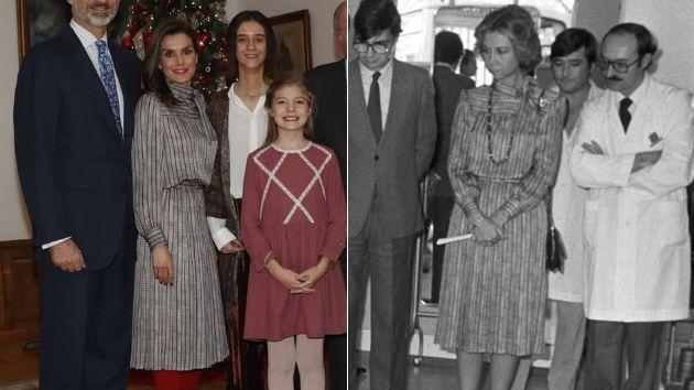 Letizia en 2018 y Sofía en 1984