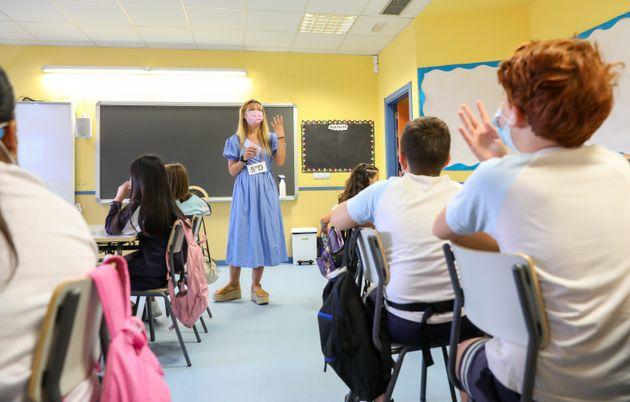Una clase en una escuela de Madrid, el primer día de vuelta al cole, el 6 de septiembre de