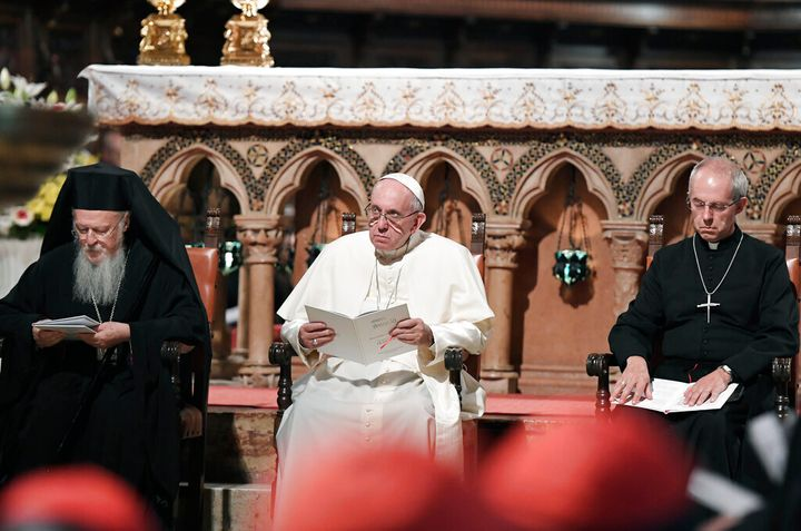 """The world's top Christian leaders — Pope Francis, the Archbishop of Canterbury and the spiritual leader of Orthodox Christians — on Tuesday issued a joint appeal for delegates at the upcoming U.N. climate summit to """"listen to the cry of the Earth"""" and make sacrifices to save the planet. (Tiziana Fabi/Pool Photo via AP)"""