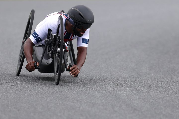 Freddie De Los Santos competes during the Men's H5 Road Race Time Trial on Day 7 of the Tokyo 2020 Paralympic Games on Aug. 3