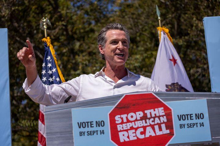Gov. Gavin Newsom addresses an anti-recall rally on Sept. 4 as he campaigns with Sen. Elizabeth Warren (D-Mass.) in Culver Ci