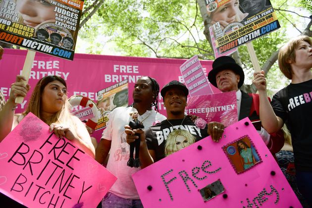 Protesters attend a #FreeBritney Rally at Stanley Mosk Courthouse on July 14, 2021 in Los Angeles,