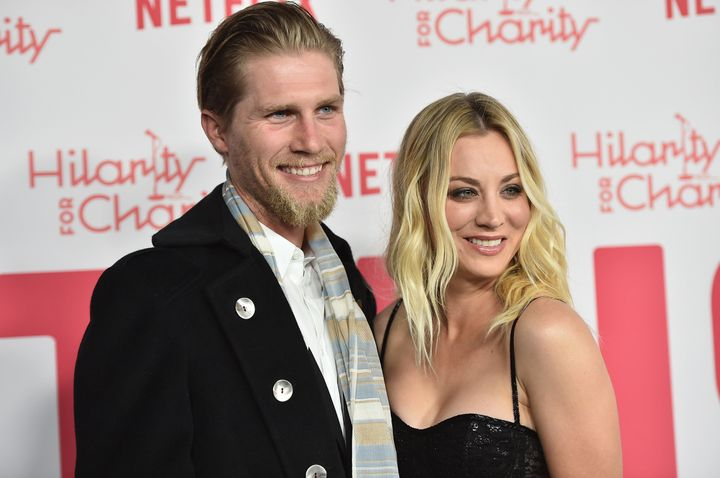 Karl Cook and Kaley Cuoco attend the 6th Annual Hilarity For Charity on March 24, 2018, in Los Angeles. The two announced the