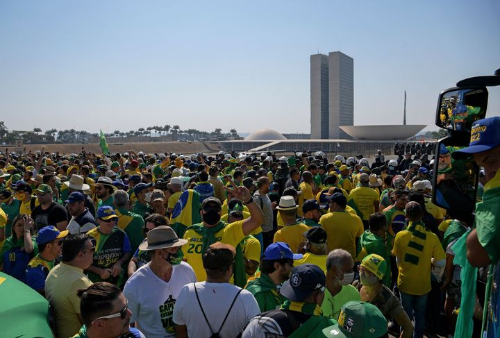 Jair Bolsonaro supporters rallied in front of Brazil's National Congress on Tuesday, in an attempt to demonstrate mass suppor