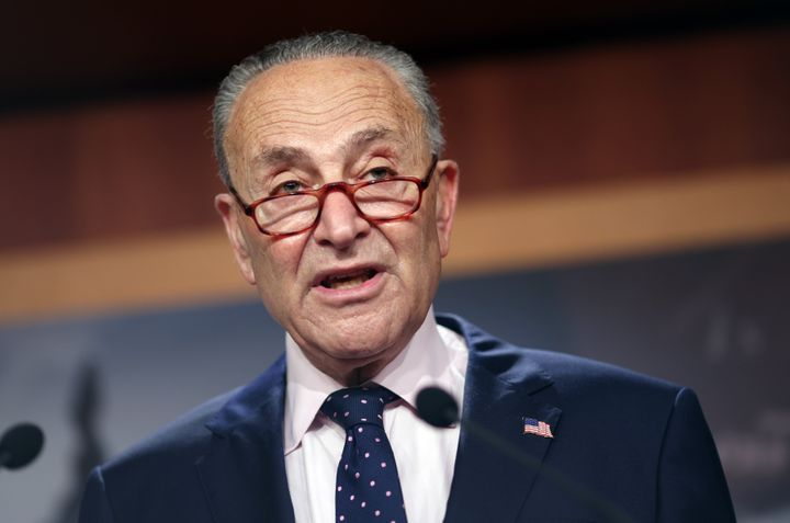 """Senate Majority Leader Charles Schumer (D-N.Y.) says it's """"full speed ahead"""" on the Democrats' $3.5 trillion """"human infrastructure"""" bill. (Photo by Kevin Dietsch/Getty Images)"""