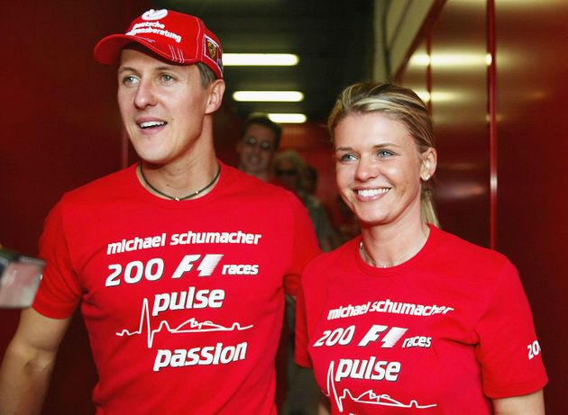 BARCELONA, SPAIN - MAY 9: Michael Schumacher of Germany and Ferrari celebrates with his wife Corrina...