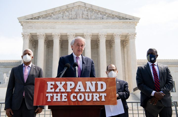Sen. Ed. Markey (D-Mass.) and Reps. Hank Johnson (D-Ga.), Jerrold Nadler (D-N.Y.) and Mondaire Jones (D-N.Y.) introduce their bill in April 2021 to expand the Supreme Court from nine to 13 seats.