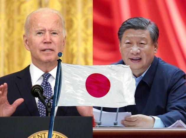 バイデン大統領と習近平国家主席に挟まれる日本国旗(イメージ)