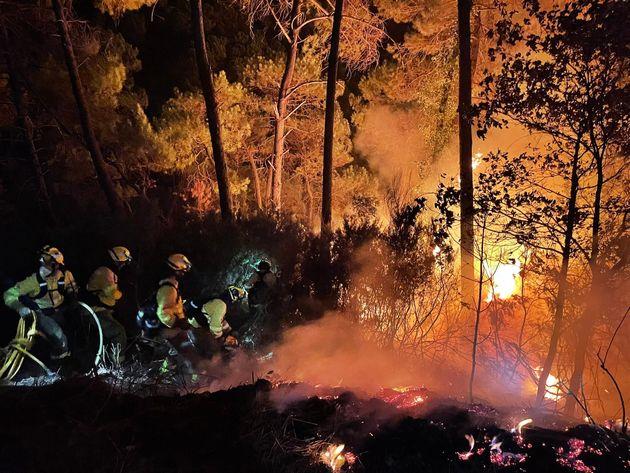 Bomberos luchando contra el fuego en Sierra