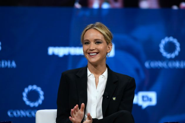 Jennifer Lawrence s'exprime sur scène lors du sommet annuel 2018 de Concordia - Jour 2 au Grand Hyatt...