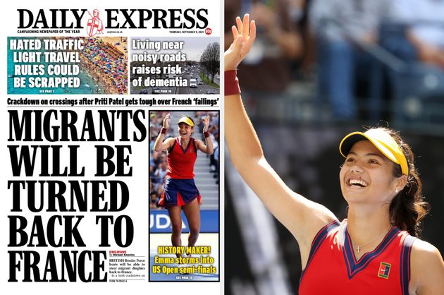 The Daily Express front page for September 9, 2021, and tennis player Emma
