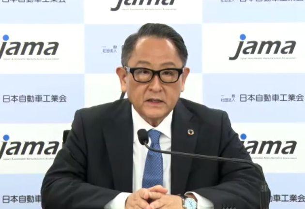 オンライン形式で記者会見する日本自動車工業会の豊田章男会長(トヨタ自動車社長)=2021年9月9日