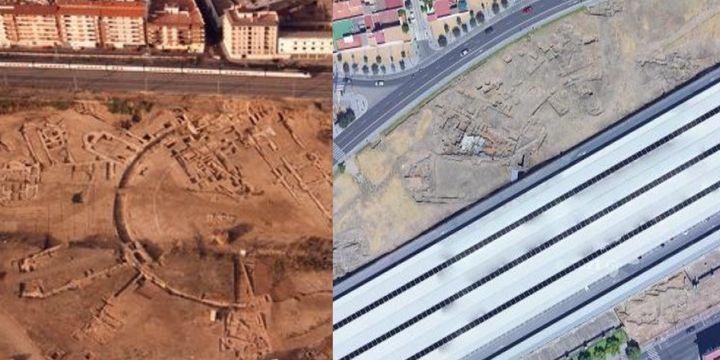 Vista aérea en 1991 y en 2021 del palacio Maximiano Hercúleo del yacimiento de Cercadilla en Córdoba.