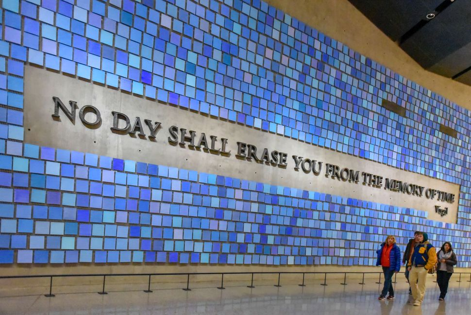 Inside of the National September 11 Memorial and
