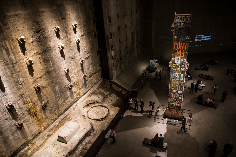 The inside of the National 9/11 Memorial Museum in New York, United States, on Oct. 12, 2017. On the...