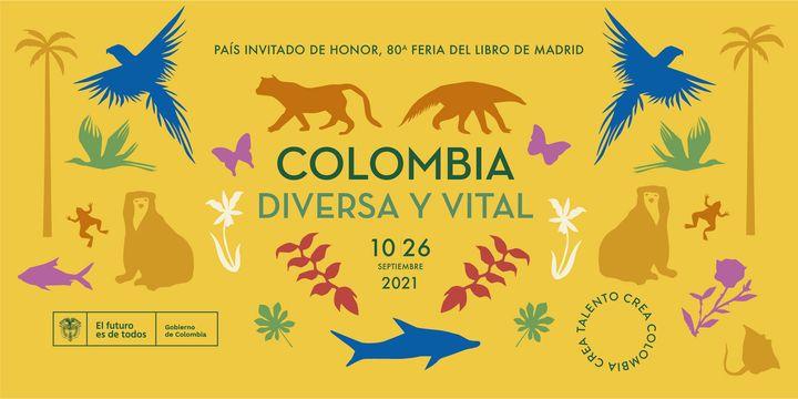 Cartel de la Feria del Libro de Madrid sobre el país invitado, Colombia.